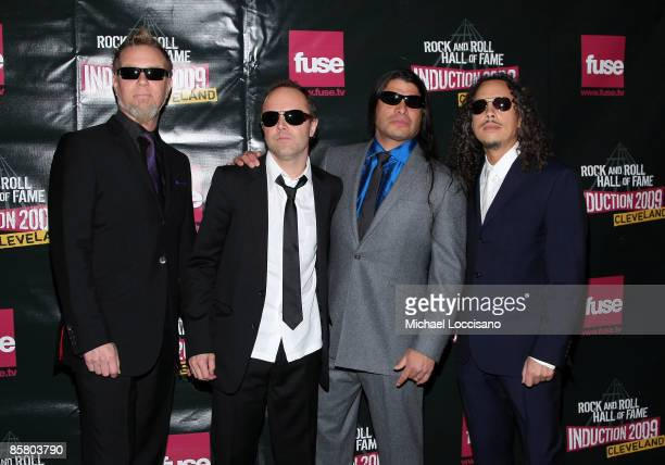 James Hetfield Lars Ulrich Robert Trujillo and Kirk Hammett of Metallica attend the 24th Annual Rock and Roll Hall of Fame Induction Ceremony at...