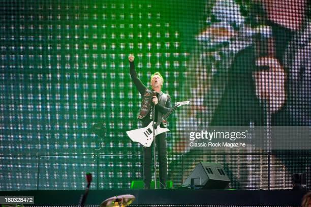 James Hetfield of American thrash metal band Metallica performing live onstage at Download Festival June 9 2012