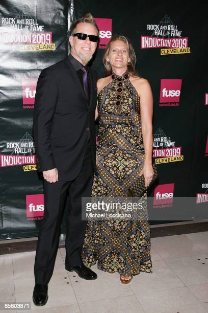 James Hetfield of Metallica and Francesca Hetfield attend the 24th Annual Rock and Roll Hall of Fame Induction Ceremony at Public Hall on April 4...