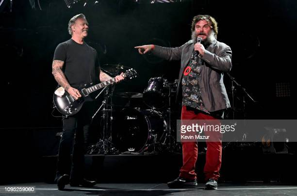 James Hetfield of Metallica and Jack Black perform onstage during I Am The Highway A Tribute To Chris Cornell at The Forum on January 16 2019 in...