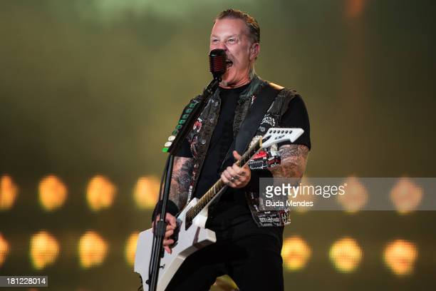James Hetfield of Metallica band performs on stage during a concert in the Rock in Rio Festival on September 19 2013 in Rio de Janeiro Brazil