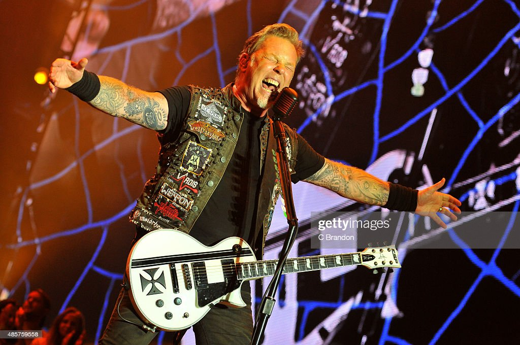 James Hetfield of Metallica headlines on the main stage during day 2 of the Reading Festival at Richfield Avenue on August 29, 2015 in Reading, England.
