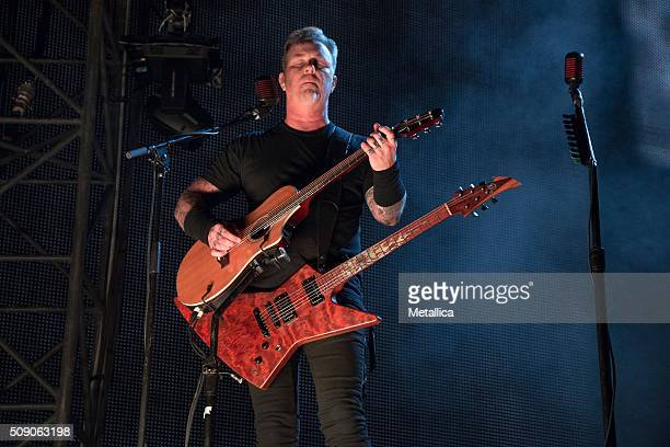 James Hetfield of Metallica performing The Night Before at ATT Park on February 6 2016 in San Francisco CA