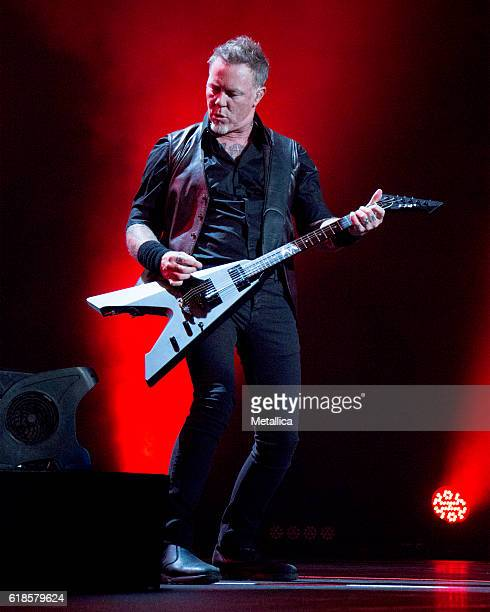 James Hetfield of Metallica performs at Coliseo de Puerto Rico on October 26 2016 in Hato Rey Puerto Rico