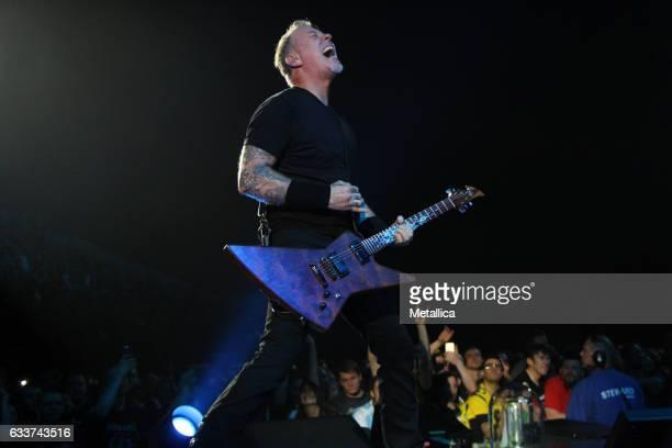James Hetfield of Metallica performs at Royal Arena on February 3 2017 in Copenhagen Denmark