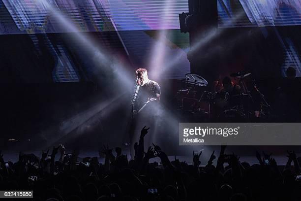 James Hetfield of Metallica performs at Singapore Indoor Stadium on January 22 2017 in Singapore Singapore