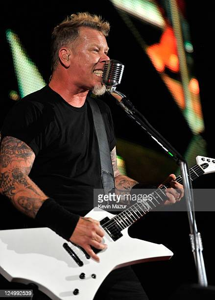 James Hetfield of Metallica performs at Yankee Stadium on September 14 2011 in New York City