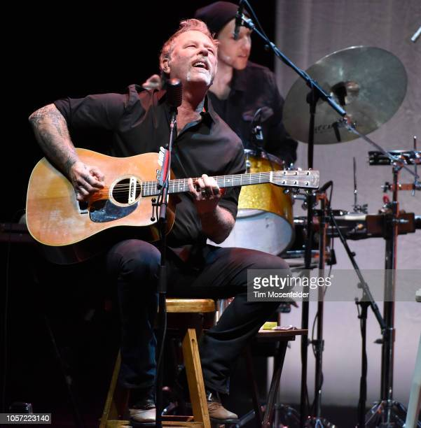 James Hetfield of Metallica performs during Metallica's All Within My Hands Foundation's Helping Hands Concert Auction at The Masonic Auditorium on...