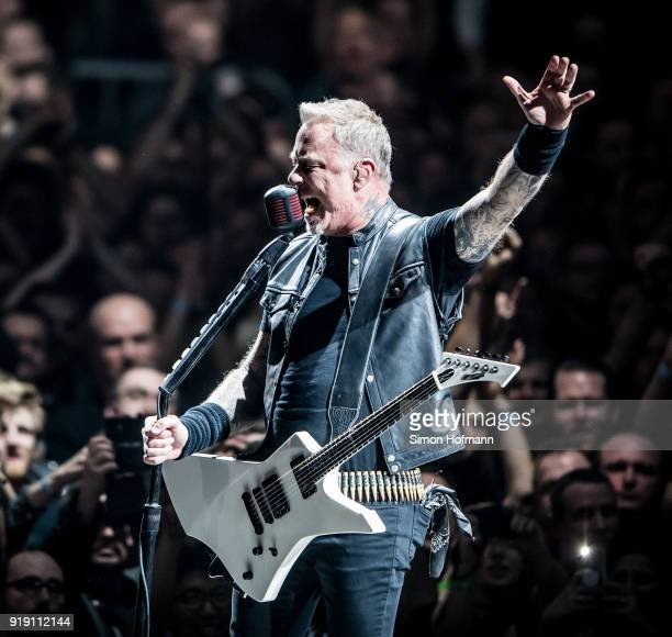 James Hetfield of Metallica performs during their 'WorldWired' tour at SAP Arena on February 16 2018 in Mannheim Germany