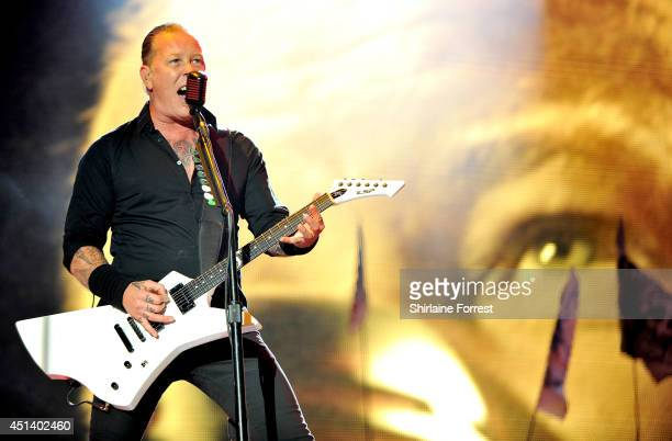 James Hetfield of Metallica performs headling The Pyramid Stage on Day 2 of the Glastonbury Festival at Worthy Farm on June 28, 2014 in Glastonbury,...