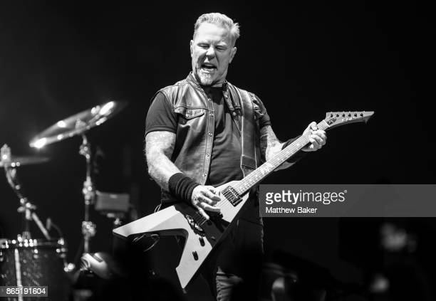 James Hetfield of Metallica performs live on stage at The O2 Arena on October 22 2017 in London England