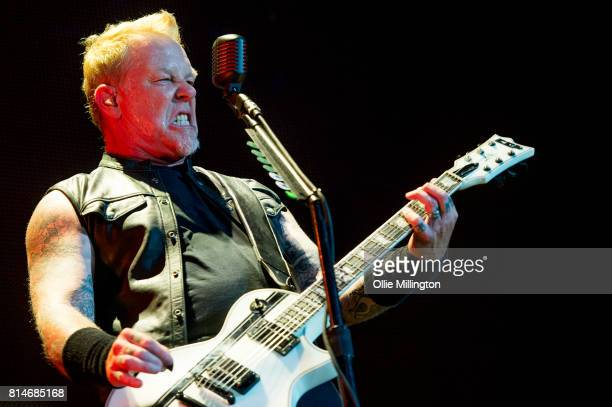 James Hetfield of Metallica performs live on stage headlining Day 9 of the 50th Festival D'ete De Quebec on the Main Stage at the Plaines D' Abraham...