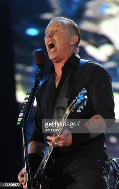 James Hetfield of Metallica performs live on the Pyramid stage during day two of the Glastonbury Festival at Worthy Farm in Pilton on June 28, 2014...