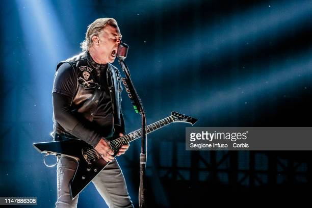 James Hetfield of Metallica performs on stage at Ippodromo San Siro on May 8 2019 in Milan Italy