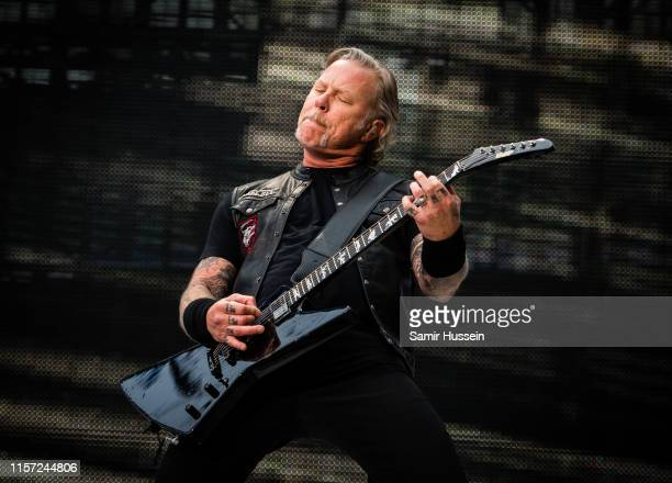 James Hetfield of Metallica performs on stage at Twickenham Stadium on June 20 2019 in London England