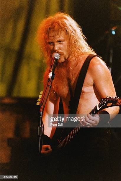 James Hetfield of Metallica performs on stage at Wembley Arena on May 24th 1990 in London England