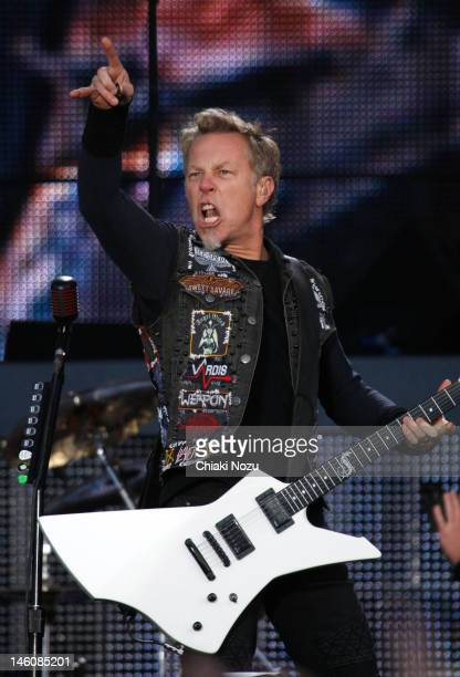 James Hetfield of Metallica performs on stage during Download Festival at Donington Park on June 9 2012 in Castle Donington United Kingdom