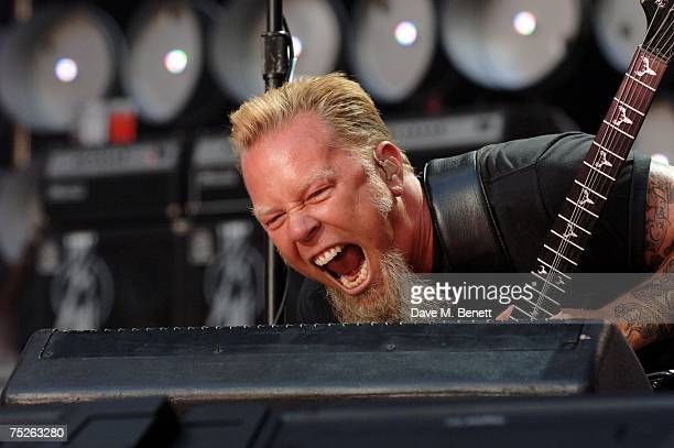 James Hetfield of Metallica performs on stage during the Live Earth London concert at Wembley Stadium on July 7 2007 in London England Live Earth is...