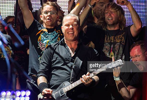 James Hetfield of Metallica performs on the Pryramid Stage as the band headline Glastonbury Festival at Worthy Farm on June 28 2014 in Glastonbury...