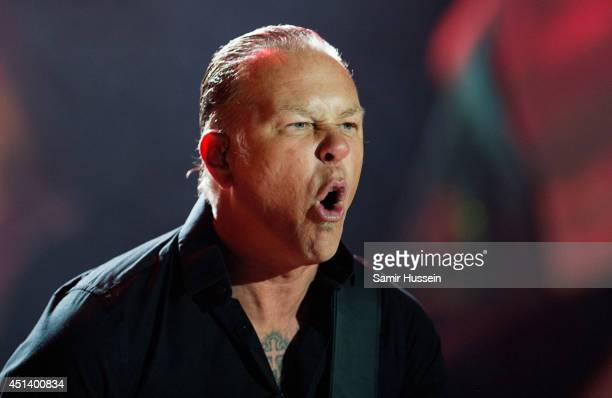James Hetfield of Metallica performs on the Pryramid Stage as the band headline Glastonbury Festival at Worthy Farm on June 28, 2014 in Glastonbury,...
