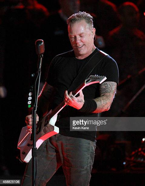 James Hetfield of Metallica performs onstage during 'The Concert For Valor' at The National Mall on November 11 2014 in Washington DC