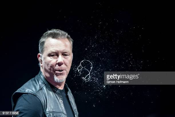 James Hetfield of Metallica spitting as he performs during their 'WorldWired' tour at SAP Arena on February 16 2018 in Mannheim Germany