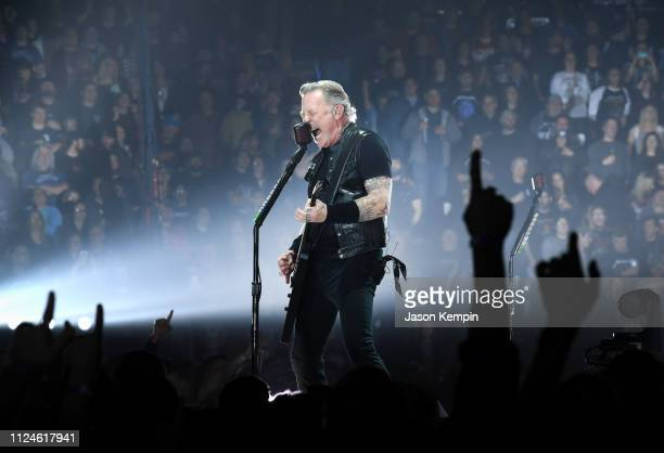 James Hetfield of the band Metallica performs at Bridgestone Arena on January 24 2019 in Nashville Tennessee