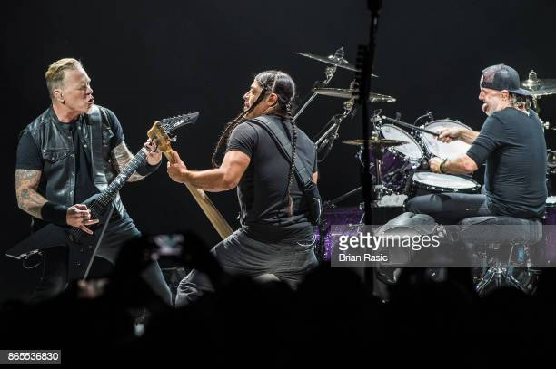 James Hetfield Robert Trujillo and Lars Ulrich of Metallica perform live on stage at The O2 Arena on October 22 2017 in London England