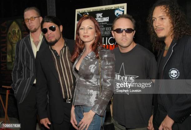 James Hetfield Robert Trujillo Traci Lords Lars Ulrich and Kirk Hammett of Metallica