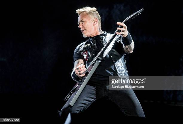 James Hetfield singer of Metallica performs on stage during day 1 of Lollapalooza Argentina at Hipodromo de San Isidro on March 31 2017 in San Isidro...
