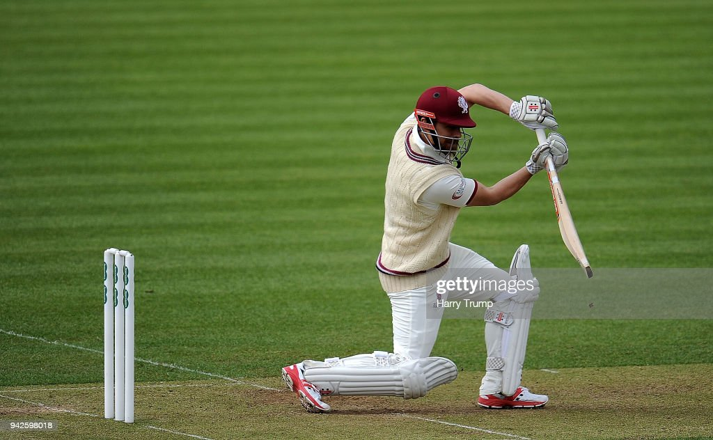 James Hildreth of Somerset bats during Day One of the Friendly match between Somerset and Ireland at The Cooper Associates County Ground on April 6, 2018 in Taunton, England.