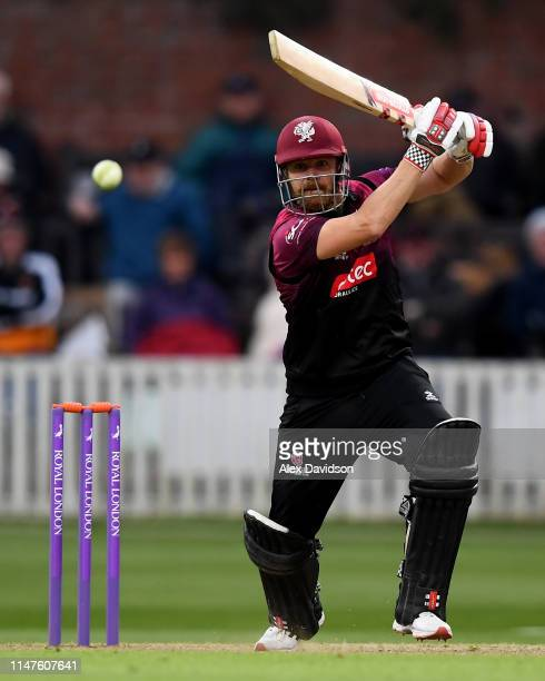 James Hildreth of Somerset bats during the Royal London One Day Cup match between Somerset and Surrey at The Cooper Associates County Ground on May...