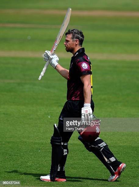 James Hildreth of Somerset celebrates his century during the Royal London OneDay Cup match between Somerset and Glamorgan at The Cooper Associates...