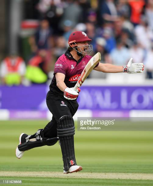 James Hildreth of Somerset celebrates scoring the winning runs and victory during the Royal London One Day Cup Final match between Somerset and...