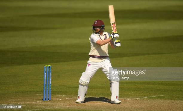 James Hildreth of Somerset plays a shot during Day Three of the LV= Insurance County Championship match between Somerset and Gloucestershire at The...