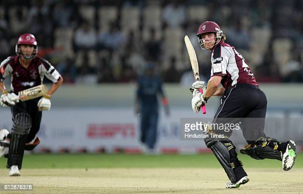 James Hildreth of Somerset plays a shot during the Airtel Champions League Twenty20 Group A match between the Deccan Chargers and Somerset CCC at the...