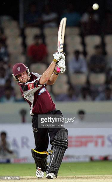 James Hildreth of Somerset pulls to mid wicket during the Airtel Champions League Twenty20 Group A match between the Deccan Chargers and Somerset CCC...