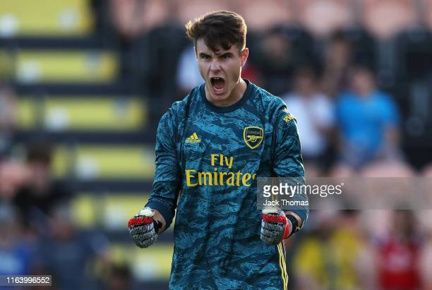 James Hillson of Arsenal celebrates his sides first goal during the PreSeason Friendly match between Barnet and Arsenal at The Hive on July 24 2019...