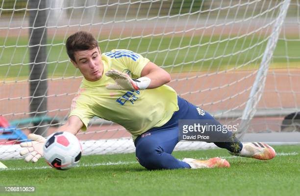 James Hillson of Arsenal during the Arsenal U23 training session at London Colney on August 17, 2020 in St Albans, England.