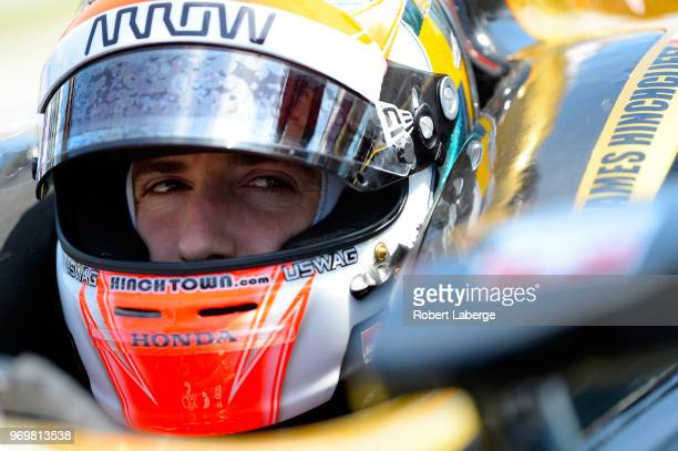James Hinchcliffe driver of the Arrow Electronics SPM Honda sits in his car during practice for the Verizon IndyCar Series DXC Technology 600 at...
