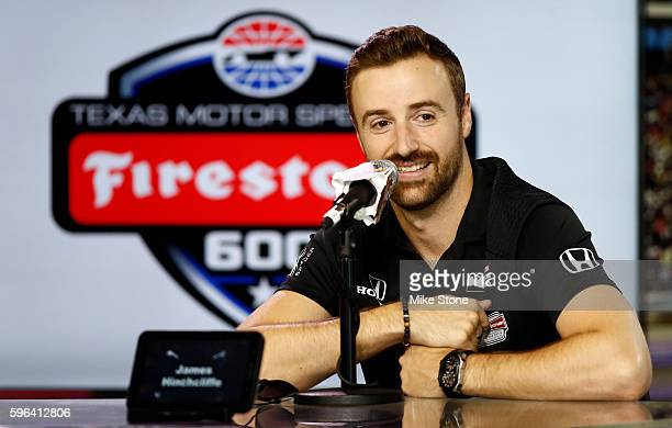 James Hinchcliffe driver of the Arrow Schmidt Peterson Motorsports Honda speaks during a media conference before the Verizon IndyCar Series Firestone...