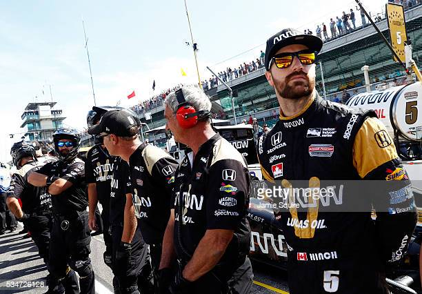 James Hinchcliffe driver of the Honda Dallara prepares to practice during Carb Day ahead of the 100th running of the Indianapolis 500 at Indianapolis...