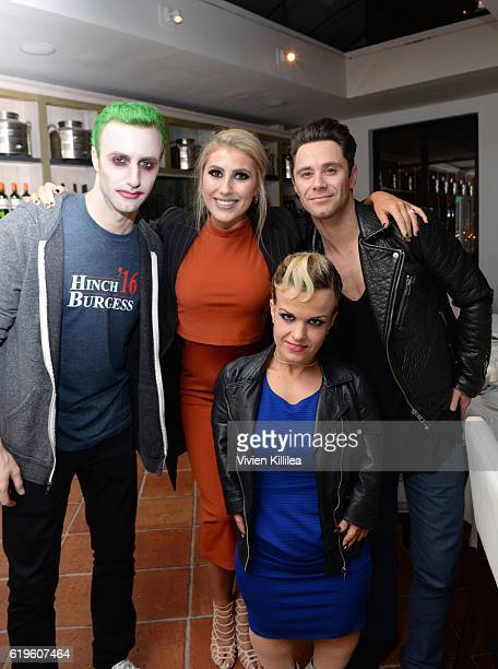 James Hinchcliffe Emma Slater Terra Jole and Sasha Farber attend Emma Slater And Sasha Farber's Engagement Dinner at Fig Olive on October 31 2016 in...