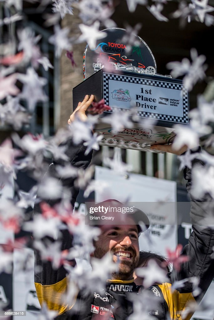 James Hinchcliffe of Canada celebrates in victory lane after winning the Grand Prix at Long Beach IndyCar race on April 9, 2017 in Long Beach California.