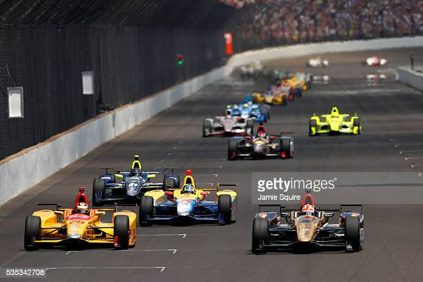 James Hinchcliffe of Canada driver of the ARROW Schmidt Peterson Motorsports Chevrolet and Ryan HunterReay driver of the DHL Andretti Autosport Honda...