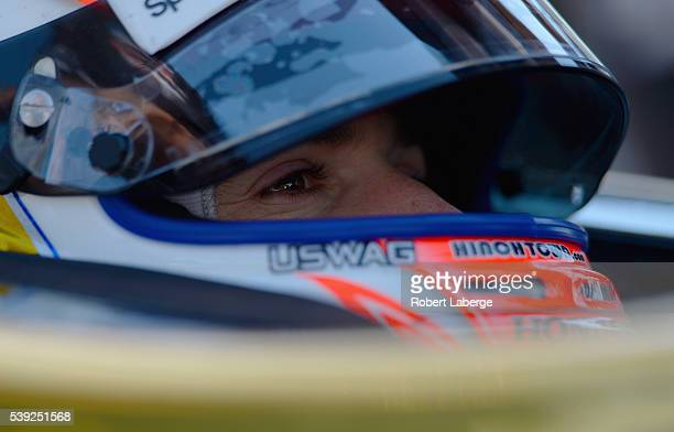 James Hinchcliffe of Canada driver of the ARROW Schmidt Peterson Motorsports Chevrolet sits in his car during practice for the Verizon IndyCar Series...