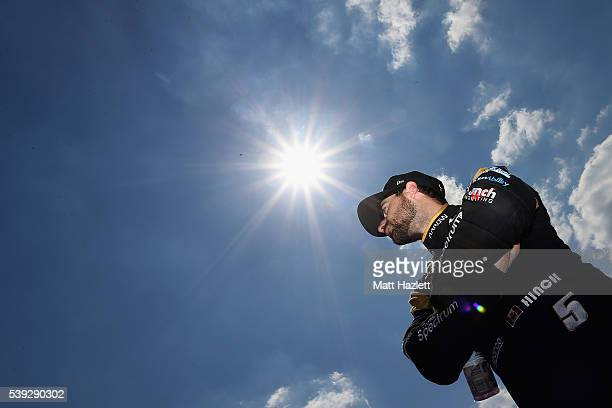James Hinchcliffe of Canada driver of the ARROW Schmidt Peterson Motorsports Chevrolet prepares for StarTelegram Qualifying for the Verizon IndyCar...