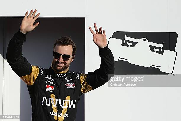 James Hinchcliffe of Canada driver of the Schmidt Peterson Motosports Honda IndyCar is introduced before the Phoenix Grand Prix at Phoenix...