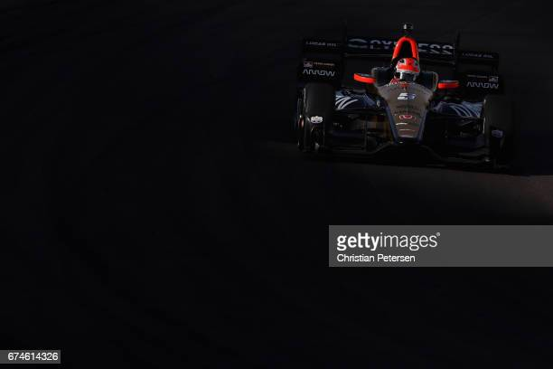 James Hinchcliffe of Canada driver of the Schmidt Peterson Motosports Honda drives during practice for the Desert Diamond West Valley Phoenix Grand...