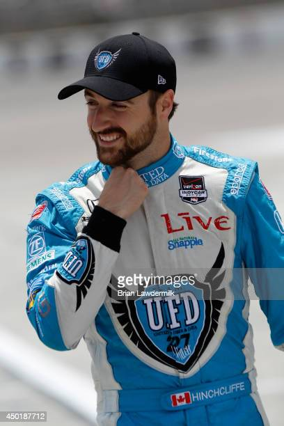 James Hinchcliffe of Canada driver of the United Fiber Data Dallara Honda stands on pit road during NTT DATA Qualifying for the Verizon IndyCar...